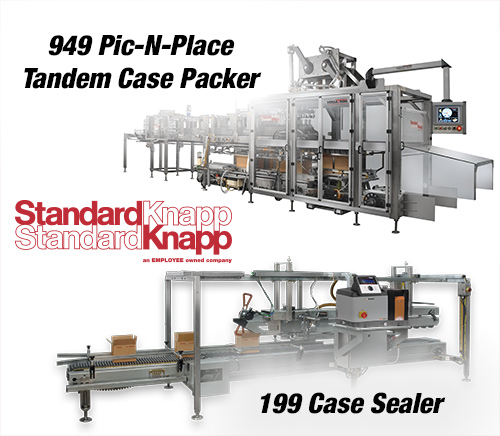 Standard-Knapp to Highlight the 949 Pic-N-Place Tandem Case Packer and Continuous-motion Case Sealer at Pack Expo